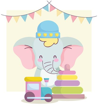 baby shower, cute elephant with hat train and pyramid toys cartoon, announce newborn welcome card vector illustration