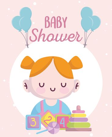 baby shower, cute little girl with blocks candy and pyramid cartoon, announce newborn welcome card vector illustration