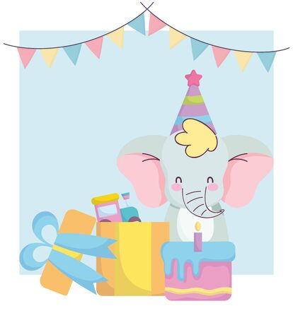baby shower, cute elephant with gift cake and train toy, announce newborn welcome card vector illustration