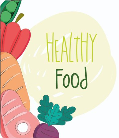 pepper bread meat and beet fresh organic healthy food with fruits and vegetables vector illustration