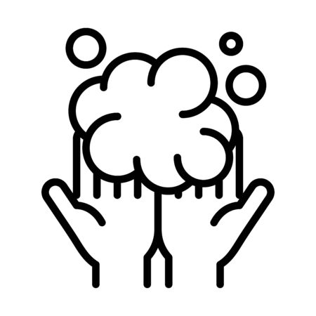 personal hand hygiene, hands bubbles foam disease prevention and health care line style icon vector illustration