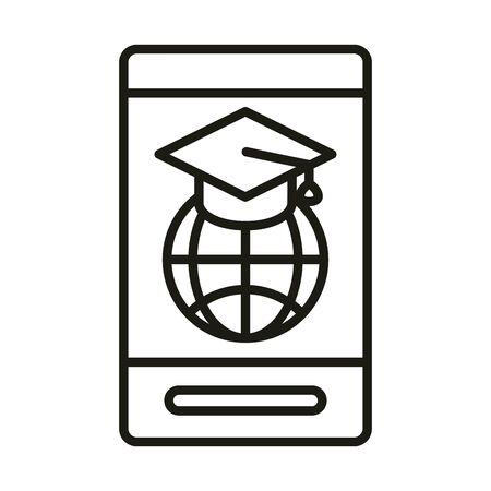 smartphone world graduation hat online education and development elearning line style icon vector illustration