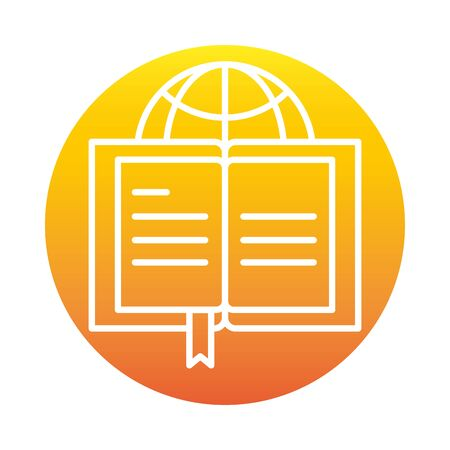 open book world online education and development elearning gradient style icon vector illustration