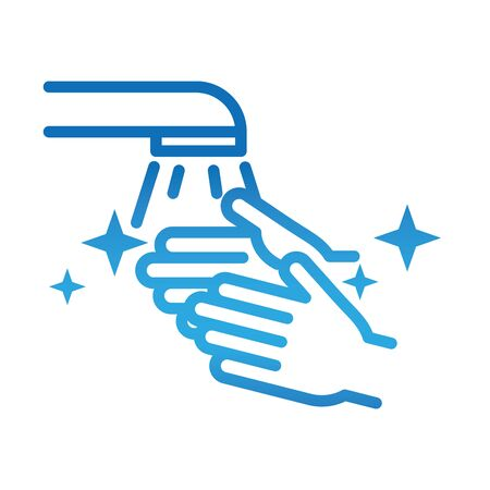 personal hand hygiene, washing hands water disease prevention and health care gradient style icon vector illustration