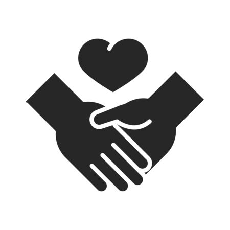 donation charity volunteer help social handshake heart love silhouette style icon vector illustration