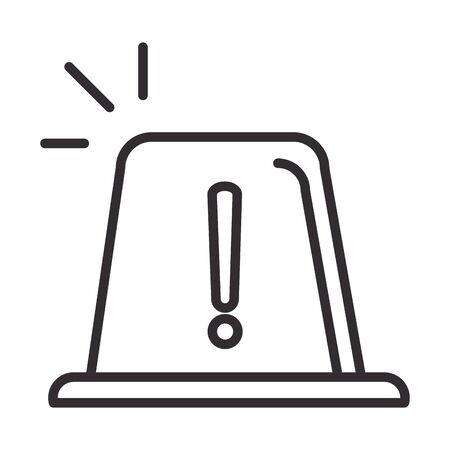alert icon, attention danger exclamation mark precaution information siren, line style design vector illustration