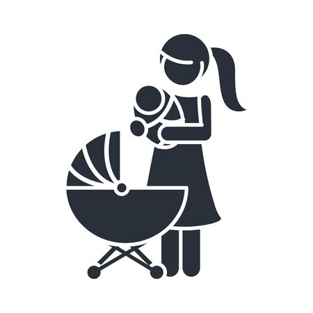 mother with baby in pram family day, icon in silhouette style vector illustration
