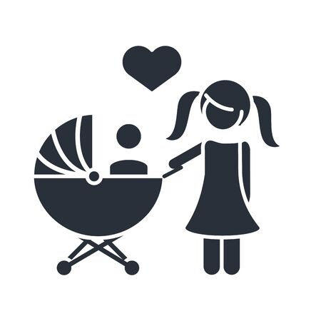 little daughter with baby in pram family day, icon in silhouette style vector illustration Vettoriali