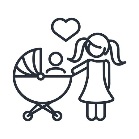 little daughter with baby in pram family day, icon in outline style vector illustration