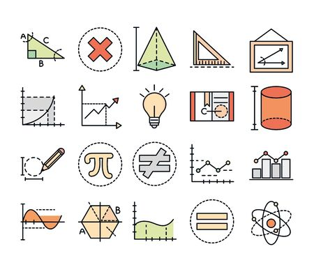 math education school science icons collection line and fill style vector illustration