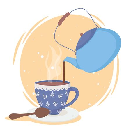 coffee time, kettle pouring in cup spoon fresh beverage vector illustration  イラスト・ベクター素材