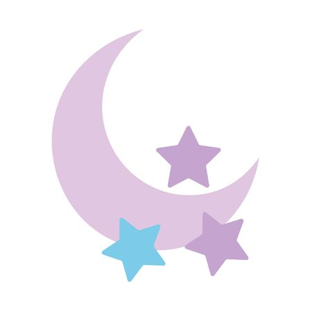 half moon and stars decoration isolated design icon vector illustration