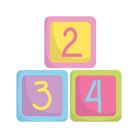 baby shower, cubes with numbers toys, announce newborn welcome isolated design icon vector illustration 向量圖像