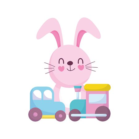 baby shower, cute bunny with car train toys, announce newborn welcome card vector illustration