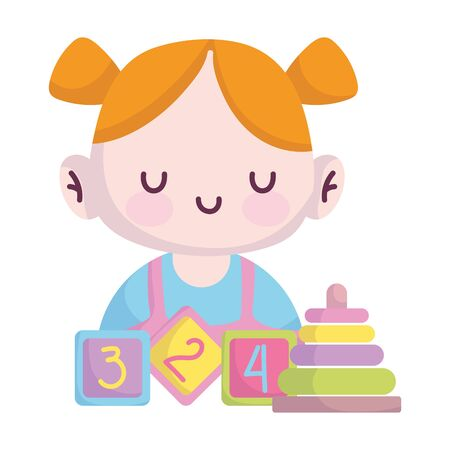 baby shower, cute little girl with blocks and pyramid cartoon, announce newborn welcome card vector illustration