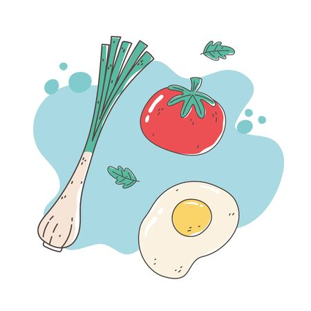 healthy food nutrition diet organic onion tomato and fried egg vector illustration