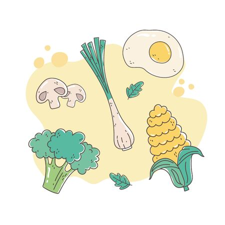 healthy food nutrition diet organic fried egg onion broccoli corn mushroom vector illustration Vettoriali