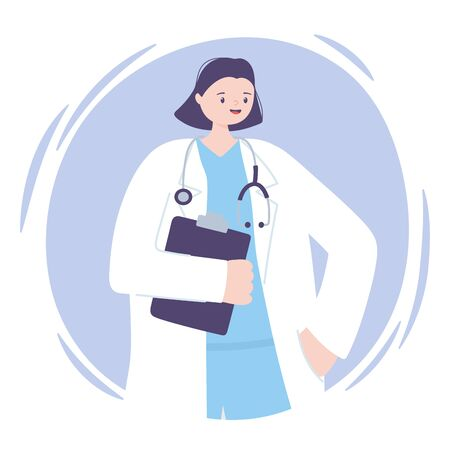 telemedicine, woman character, doctor holding medical report with stethoscope vector illustration
