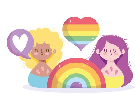 Girls cartoons with lgtbi rainbow design, Happy pride day sexual orientation and identity theme Vector illustration