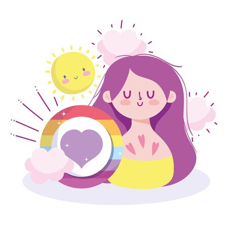 Girl cartoon with lgbt heart bubble design, Happy pride day sexual orientation and identity theme Vector illustration Vettoriali