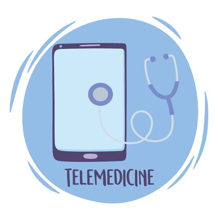 telemedicine, smartphone device with stethoscope diagnostic check vector illustration