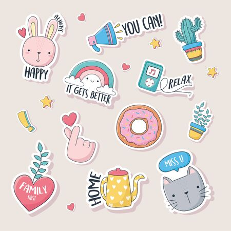 cute stuff for cards stickers or patches decoration cartoon vector illustration