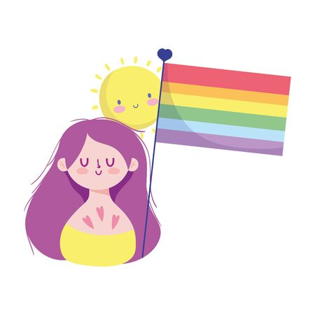 girl cartoon with lgtbi flag design, Pride day sexual orientation and identity theme Vector illustration Vettoriali