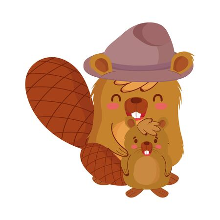Cute beavers cartoons with hat design, Animal canada life nature and character theme Vector illustration