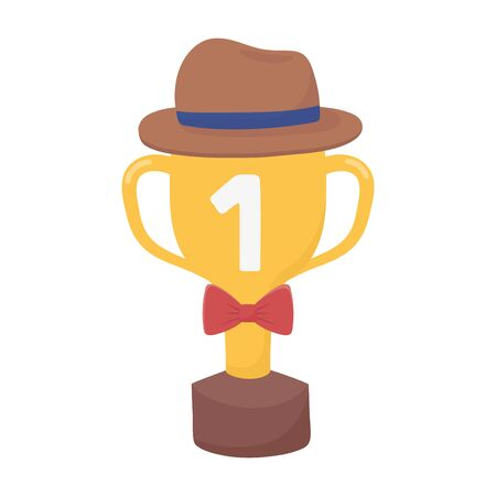 Trophy with hat and bowtie design, Fathers day celebration and love theme Vector illustration Illustration