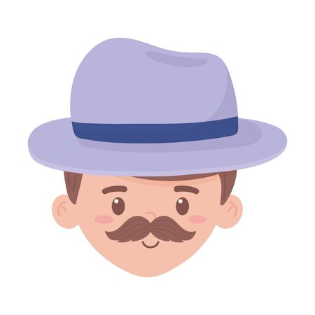 Avatar man cartoon with mustache and hat design, Boy male person people human social media and portrait theme Vector illustration