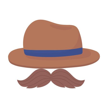 Hat with mustache design, Fathers day celebration and love theme Vector illustration