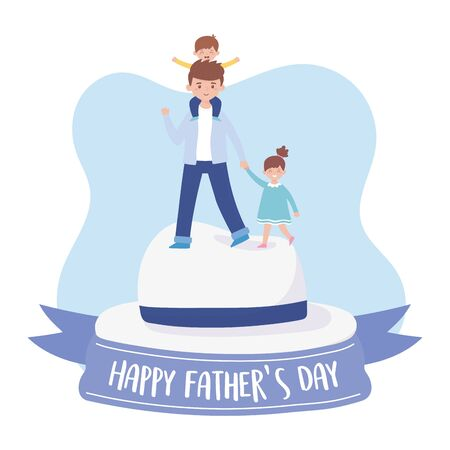 Father son and daughter over hat design, Fathers day celebration and love theme Vector illustration Illustration