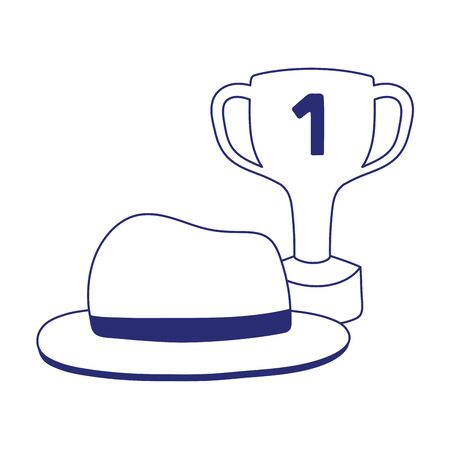 Trophy with hat design, Fathers day celebration and love theme Vector illustration