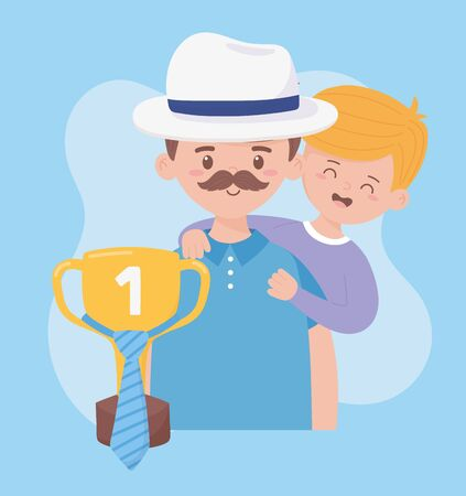 Father with son and trophy design, Fathers day celebration and love theme Vector illustration Illustration