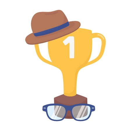Trophy with hat and glasses design, Fathers day celebration and love theme Vector illustration