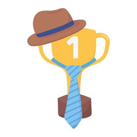 Trophy with necktie and hat design, Fathers day celebration and love theme Vector illustration