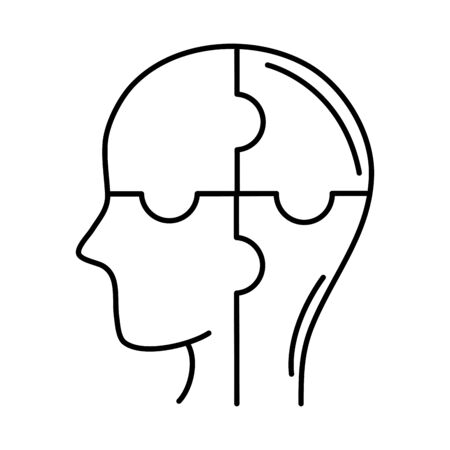 alzheimer disease, male profile silhouette puzzle solution, decrease in mental human ability vector illustration line style icon