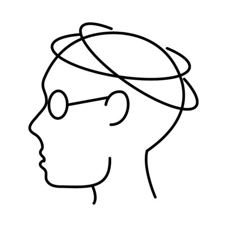 alzheimer disease, male profile silhouette incoordination, decrease in mental human ability vector illustration line style icon