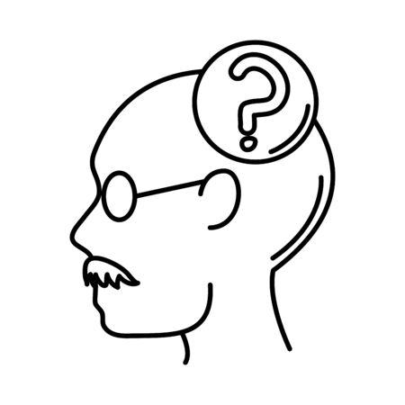 alzheimer disease, man profile question mark decrease in mental human ability vector illustration line style icon