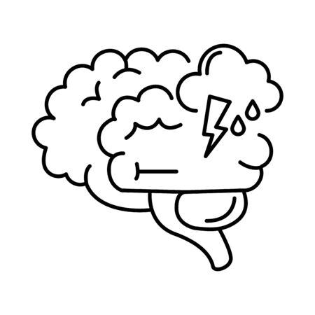 alzheimer disease, brain intellectual decrease in mental human ability vector illustration line style icon