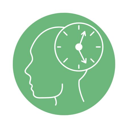 alzheimer disease, person in profile, clock time confusion, decreased human mental capacity vector illustration color block style icon