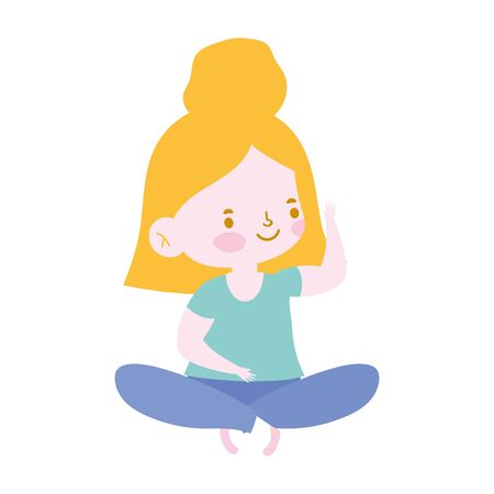 little girl sitting crossed legs character isolated icon design white background vector illustration