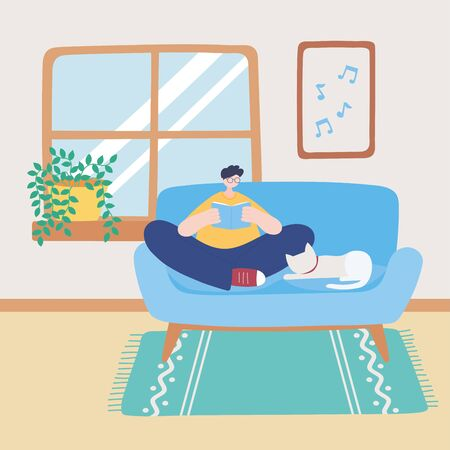 stay at home, boy sitting on sofa with book and cat, self isolation, activities in quarantine for coronavirus vector illustration Vektorgrafik