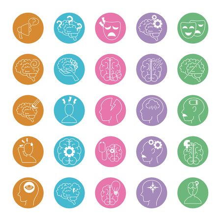 alzheimer disease, decrease in mental human ability icons set vector illustration line style