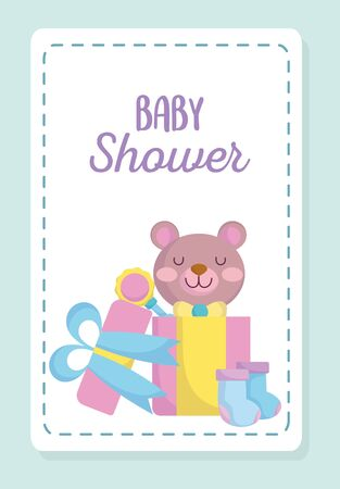 baby shower, cute teddy bear in gift with rattle and socks, announce newborn welcome card vector illustration 矢量图像