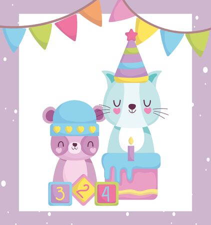 baby shower, cute teddy bear cat with hat cake and blocks toys, announce newborn welcome card vector illustration