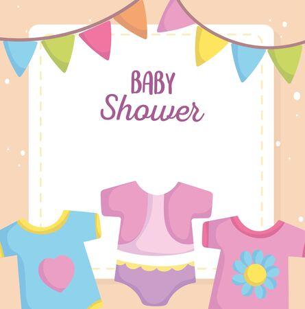 baby shower, bodysuit dress clothes cartoon, announce newborn welcome card vector illustration 矢量图像