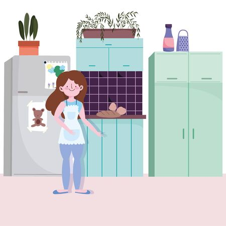 people cooking, girl with baked food in the kitchen vector illustration Vectores