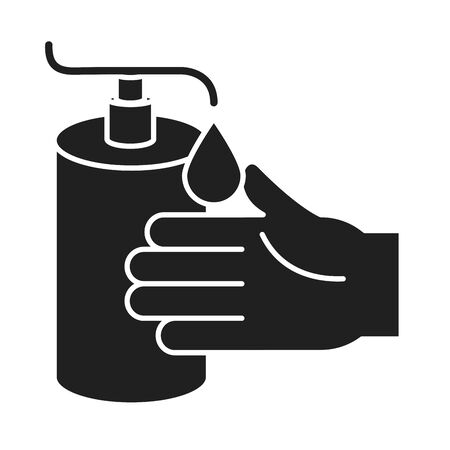 cleaning disinfection, hand sanitizer gel pump dispenser, coronavirus prevention products silhouette style icon vector illustration