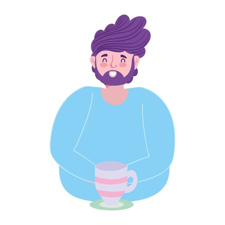 beard man male character with coffee cup in dish cartoon vector illustration